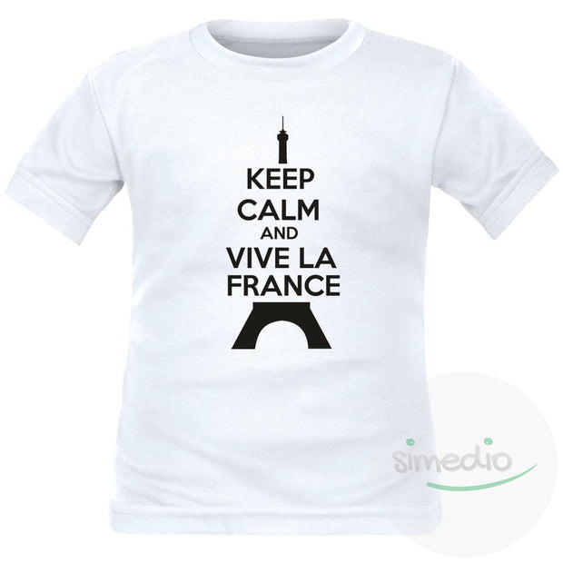 T-shirt enfant Keep Calm and VIVE LA FRANCE (7 couleurs), , , - SiMEDIO