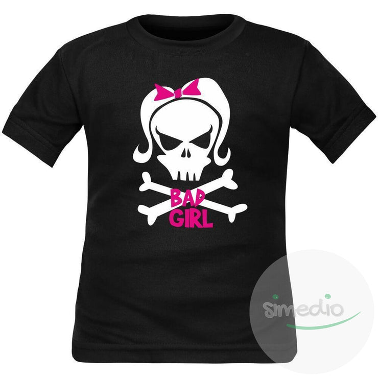 T-shirt enfant original imprimé : CRANE BAD GIRL, , , - SiMEDIO