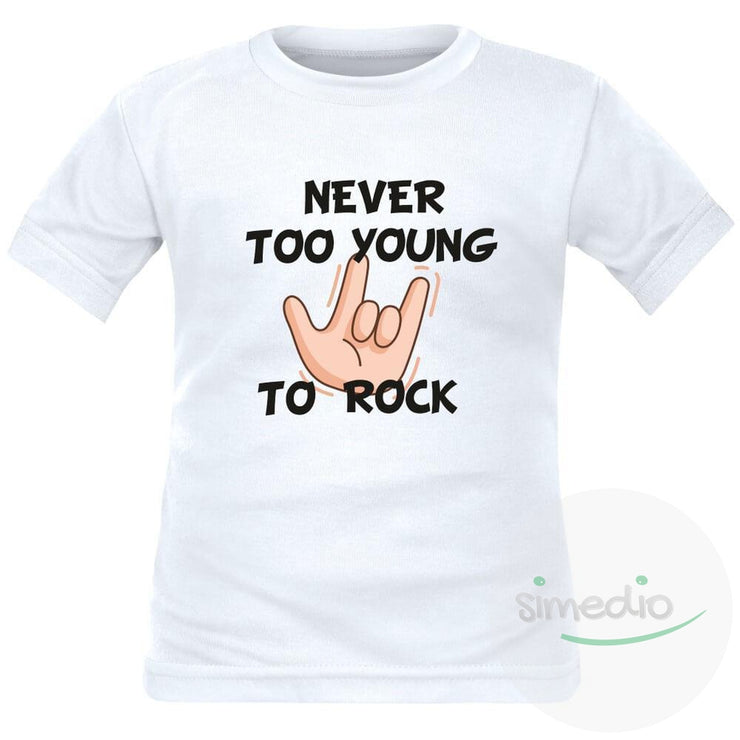 T-shirt enfant rock : NEVER TOO YOUNG TO ROCK, Blanc, 2 ans, Courtes - SiMEDIO