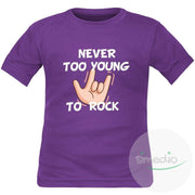 T-shirt enfant rock : NEVER TOO YOUNG TO ROCK, Violet, 2 ans, Courtes - SiMEDIO