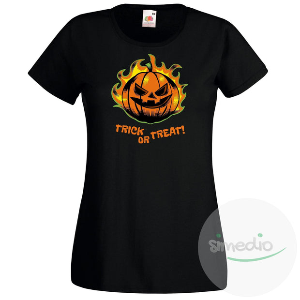 T-shirt original pour Halloween : TRICK OR TREAT!, Femme, Noir, S - SiMEDIO