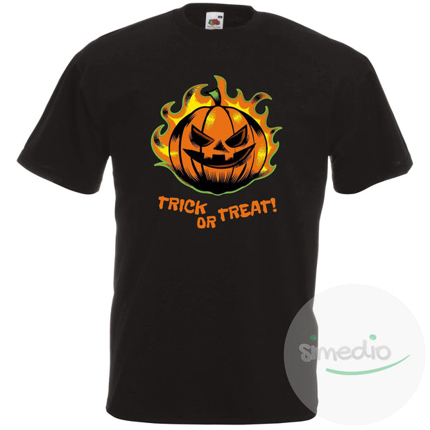 T-shirt original pour Halloween : TRICK OR TREAT!, Homme, Noir, S - SiMEDIO