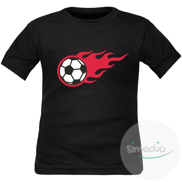 Tee shirt enfant de sport : Ballon de FOOT en flammes, , , - SiMEDIO