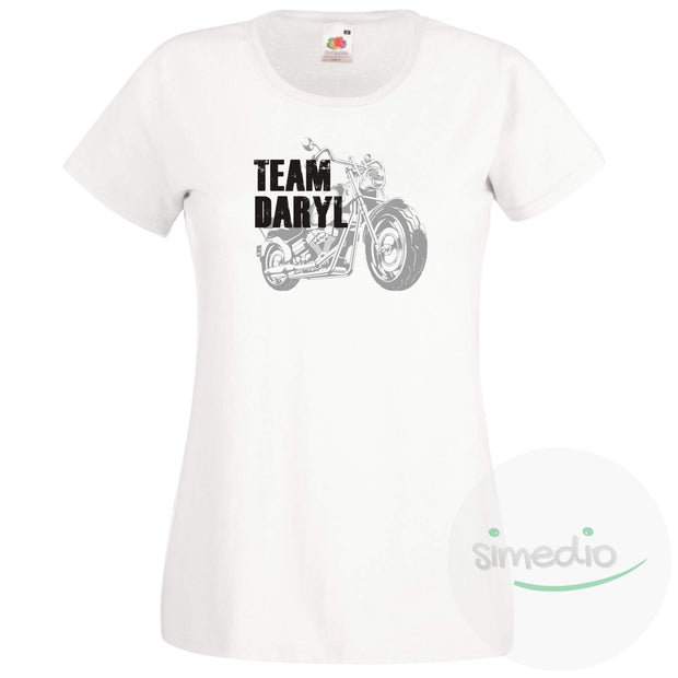 Tee shirt Walking Dead : Team Daryl, Blanc, S, Femme - SiMEDIO