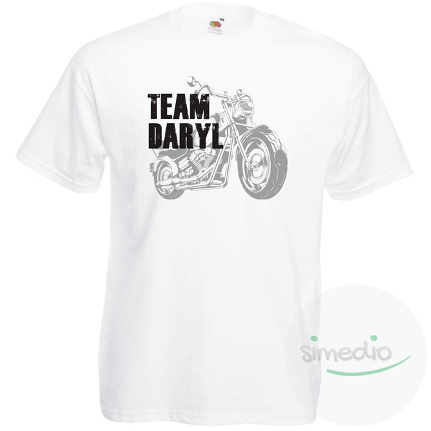 Tee shirt Walking Dead : Team Daryl, Blanc, S, Homme - SiMEDIO