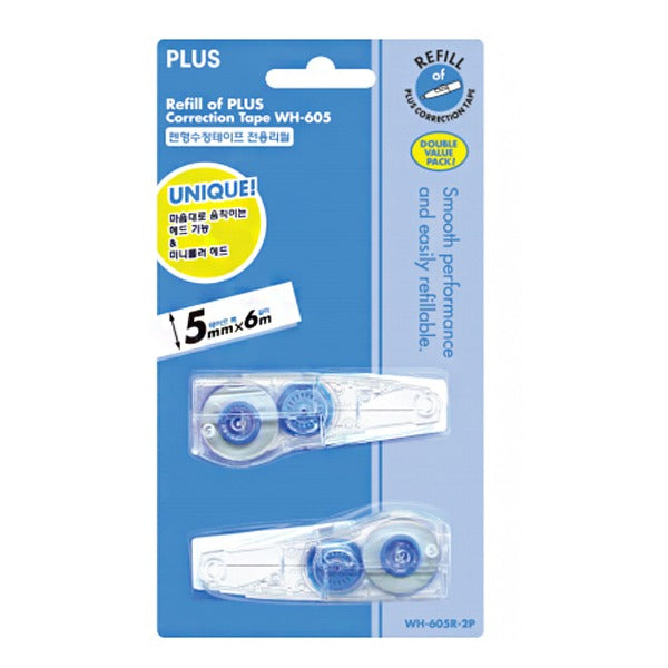 Plus Whiper Mr Correction Tape Refill (2X) 5MM x 6M WH-605R-2P-EA