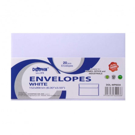 "Dolphin White Envelope 6"" x 3.5"" (20pcs/pack) DOL-WP6034"