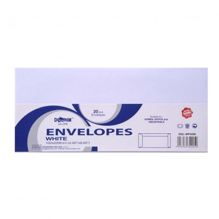 "Dolphin White Envelope 4"" x 9"" (20pcs/pack) DOL-WP4090"