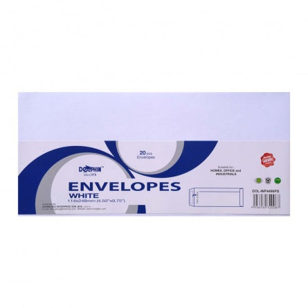 "Dolphin White Envelope 4.50"" x 9.75"" (20pcs/pack) DOL-WP4496PS"
