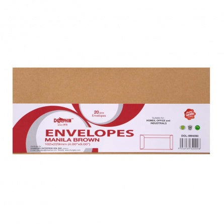 "Dolphin Brown Manila Envelope 4"" x 9"" (20pcs/pack) DOL-9M4090"
