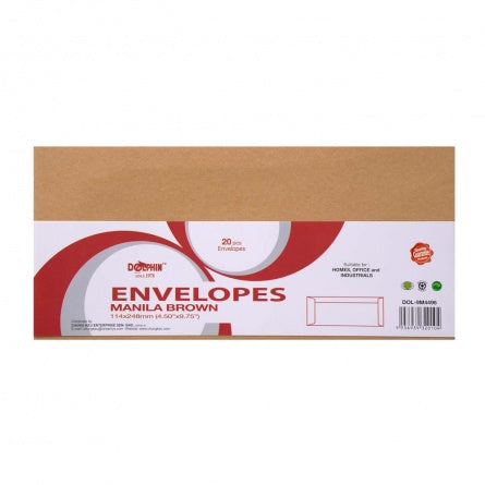 "Dolphin Brown Manila Envelope 4.50"" x 9.75"" (20pcs/pack) DOL-9M4496"