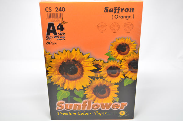 Sunflower A4 Paper 80GSM Saffron (Orange) -450'S CS240