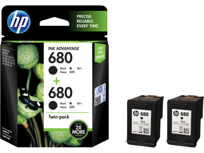 HP 680 Twin Pack Original Ink Cartridge Black + Black