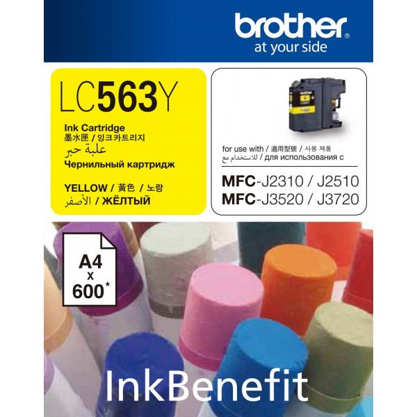 Brother LC-563Y Ink Cartridge (Yellow) (600 PGs)