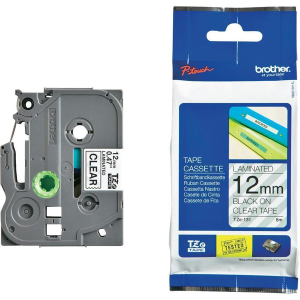 Brother TZ-Tape 12MM Black On Clear Tape TZE-131