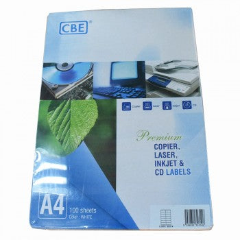 CBE A4 Premium Copier, Laser, Inkjet & CD Labels 100'S White
