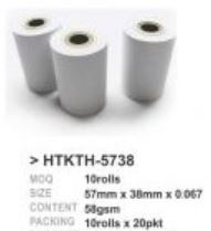CP Thermal Roll For Credit Card 57MM x 15.5 (10 Rolls/PKT) HTKTH-5738NC