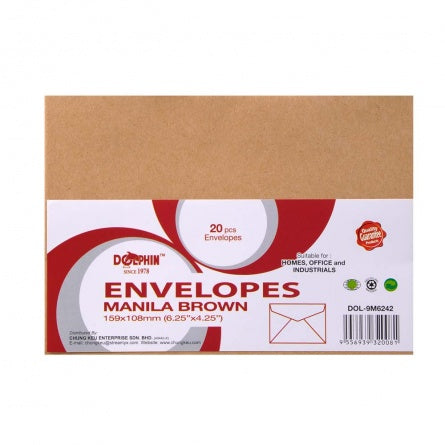 Dolphin Brown Manila Envelope 6.25'' x 4.25'' (20pcs/pack) DOL-9M6242