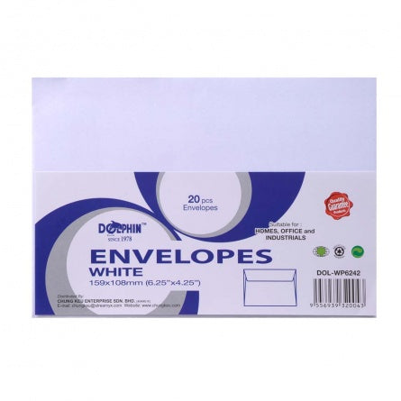 "Dolphin White Envelope 6.25"" x 4.25"" (20pcs/pack) DOL-WP6242"