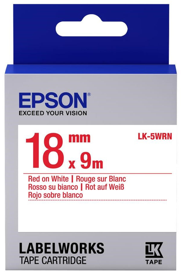 Epson Labelworks Red-On-White Tape 18MM x 9M LK-5WRN