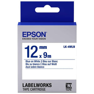 Epson Labelworks White-On-Blue Tape 12MM x 9M LK-4WLN