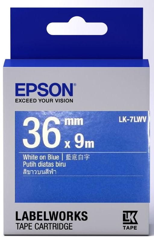 Epson Labelworks White-On-Blue Tape 36MM x 9M LK-7LWV