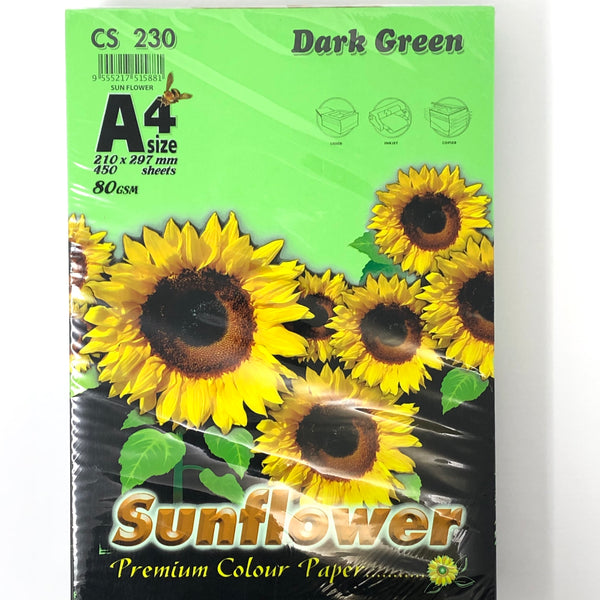 Sunflower A4 Paper 80GSM Dark Green -450'S CS230