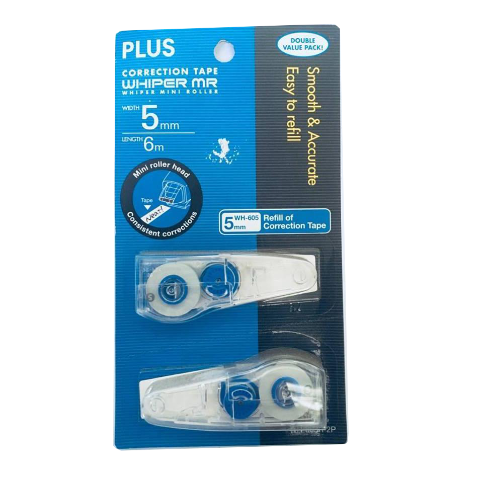 Plus Whiper Mr Correction Tape Refill (2X) 5MM x 6M