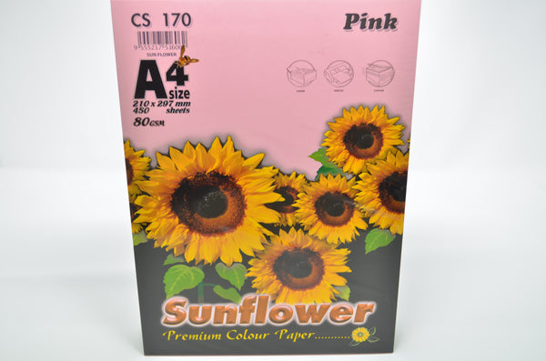 Sunflower A4 Paper 80GSM Pink -450'S CS170