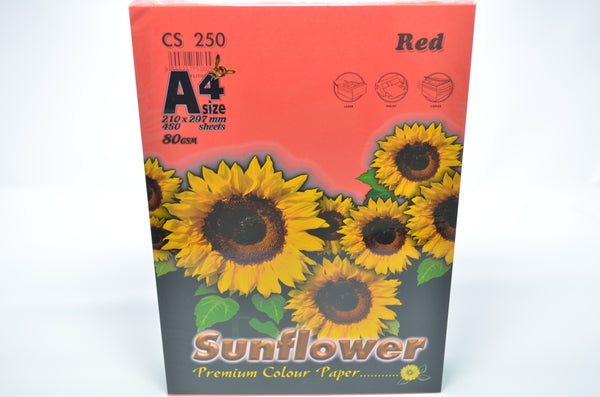 Sunflower A4 Paper 80GSM Red -450'S CS250