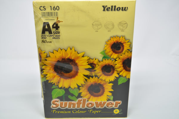 Sunflower A4 Paper 80GSM Yellow -450'S CS160