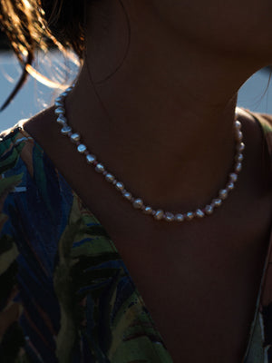 "FRESHWATER + PINK OPAL ""Collier"""