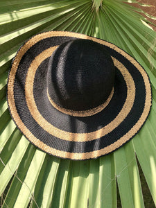 Black and Brown Round Top Paper Hat
