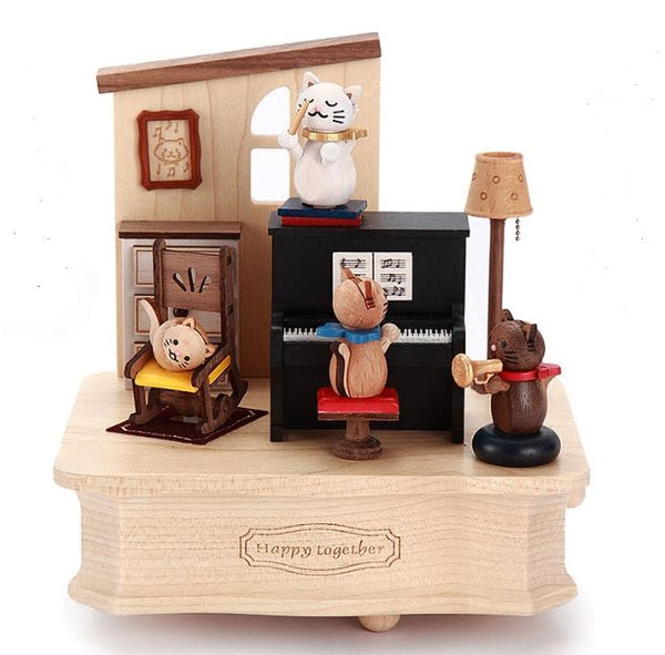 Cute Cat home wood Music box