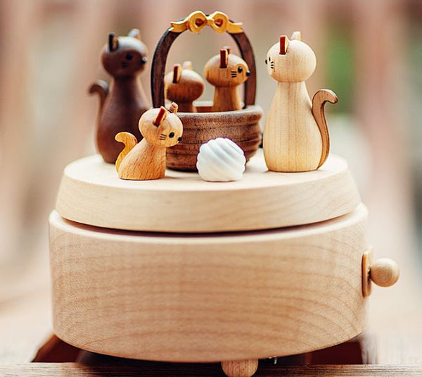 Cat wood music box for gift