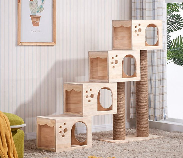 *MADE TO ORDER* Cat wood tree cozy cat box modern furniture safe and smooth for cat