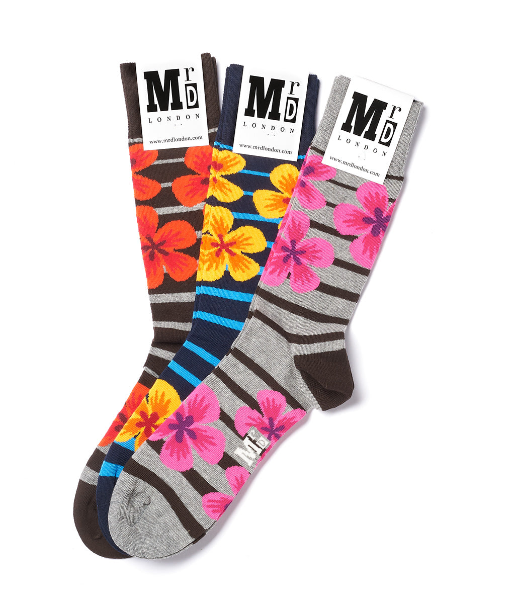 Assorted Blue Stripe Sock Pack - Multi 1