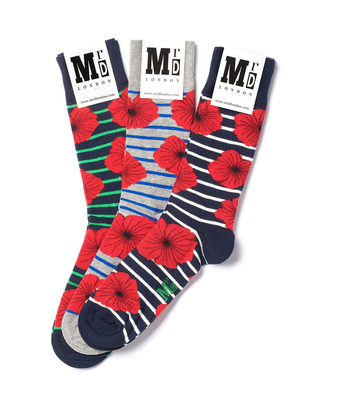 Assorted Poppies Sock Pack - Multi 1