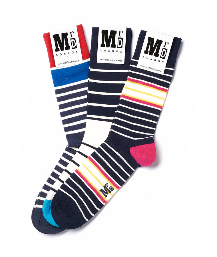 Assorted Breton Stripe Sock Pack - Multi