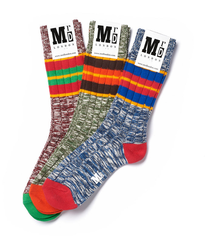 Chunky Block Stripe Sock Pack - Multi