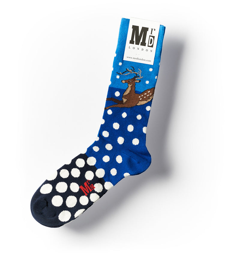 Snow Reindeer Fine Sock - Blue/White