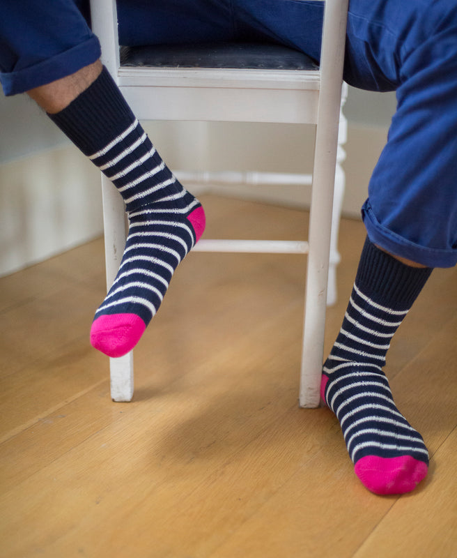 Breton Striped Ribbed Sock - Navy 4