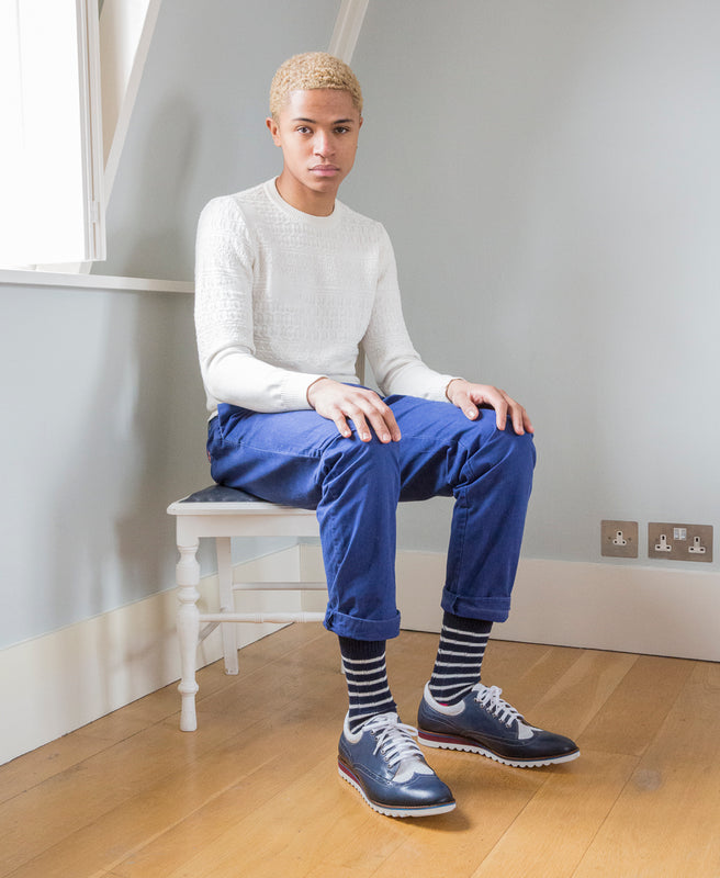 Breton Striped Ribbed Sock - Navy 12