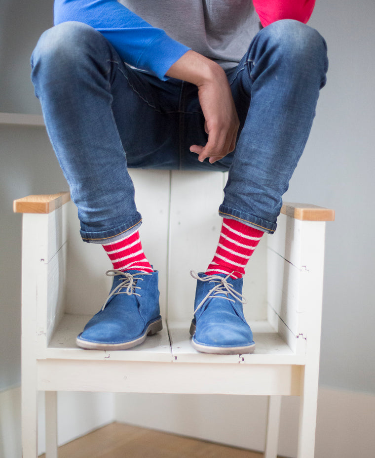 Breton Striped Ribbed Sock - Red 6