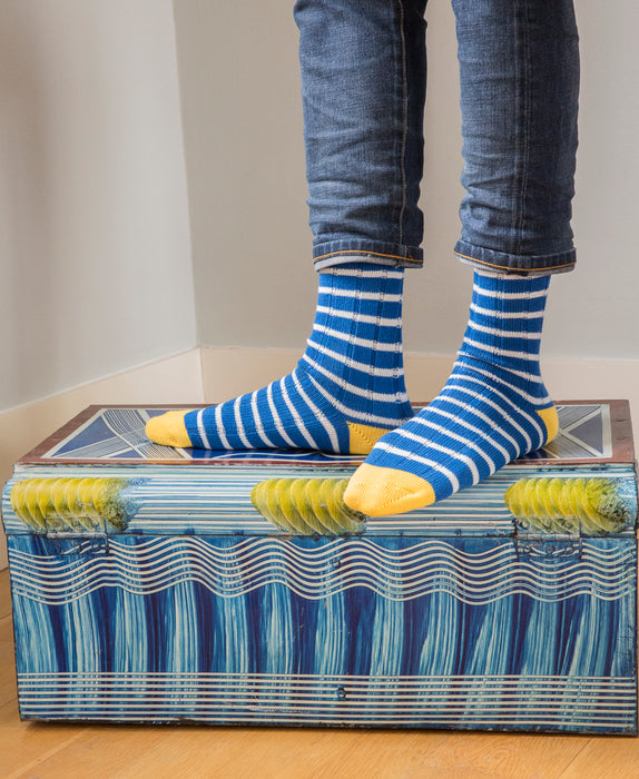 Breton Striped Ribbed Sock - Blue 2