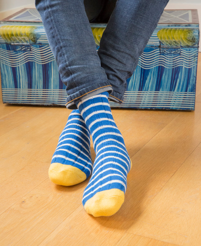 Breton Striped Ribbed Sock - Blue 4