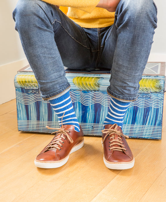 Breton Striped Ribbed Sock - Blue 10