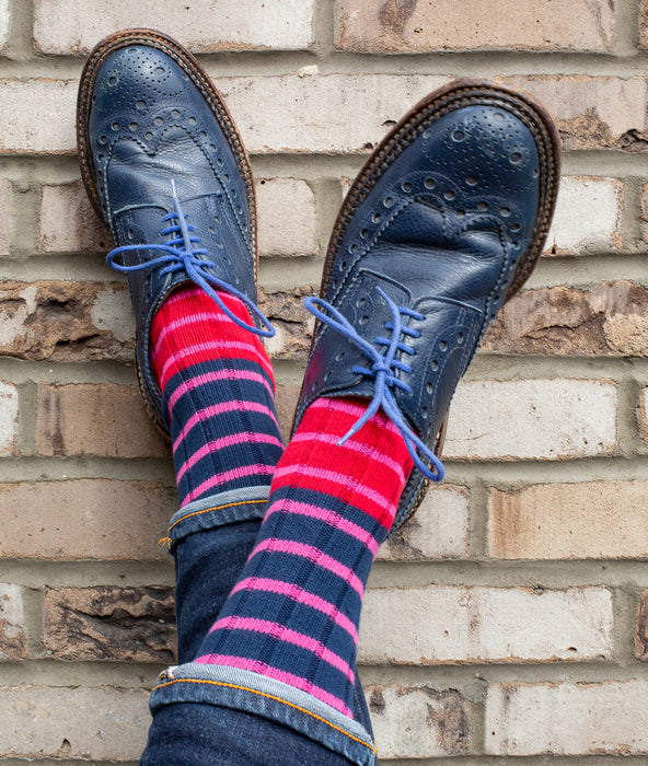 Breton Striped Rib Sock - Navy/Pink