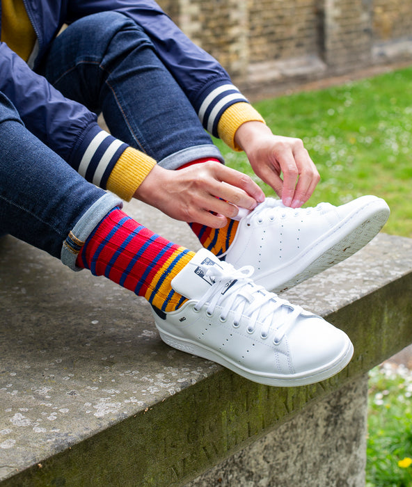 Breton Striped Ribbed Sock - Red/Yellow