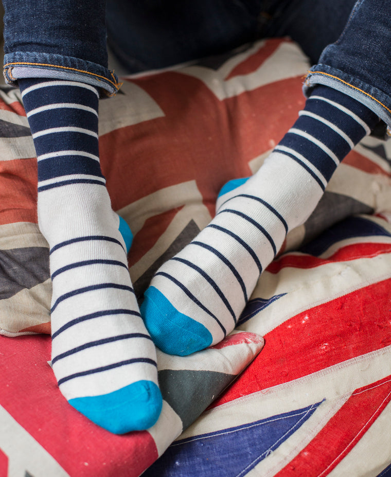Breton Stripe Fine Sock - Blue/Navy